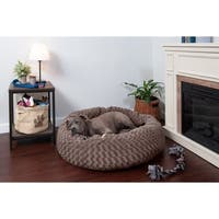 FurHaven Deep Dish Curly Faux Fur Plush Donut Pet Bed Dog Bed