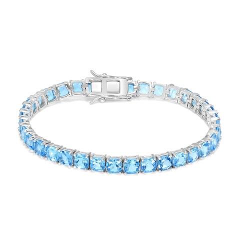 Cushion Swiss Blue Topaz Tennis Bracelet in .925 Sterling Silver