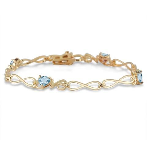 2 Carat Natural Blue Topaz Love Bracelet in 18K Gold Plated Brass