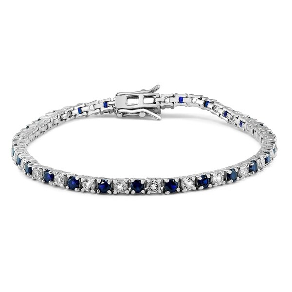 Created Blue Shire And White Topaz Bracelet In 925 Sterling Silver