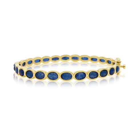 30 Carat Blue Sapphire Bangle Bracelet In 14K Yellow Gold