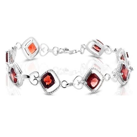 Diamond and Garnet Bracelet in .925 Sterling Silver