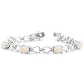 5 1/2 Carat TW Opal and Diamond Bracelet in Platinum Overlay Brass
