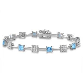 3.20 Carat Princess Shape Blue Topaz and Diamond Bracelet in Rhodium Plated Brass