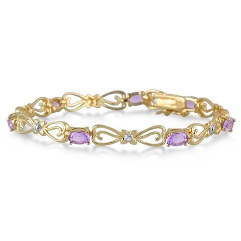 3.15 Carat Amethyst and Diamond Bracelet in 18k Gold Plated Brass
