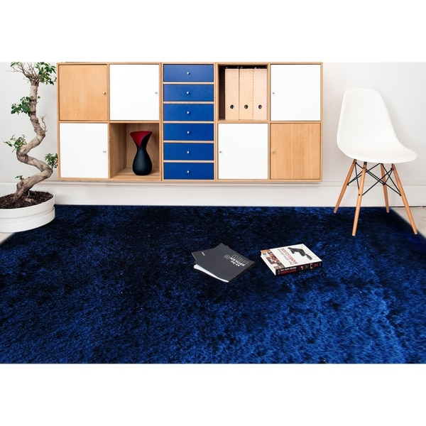 Shop Plush Shag Royal Blue Area Rug 3 X 5 On Sale