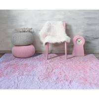 Plush Light Pink Shag Area Rug - 7'6 x 9'6