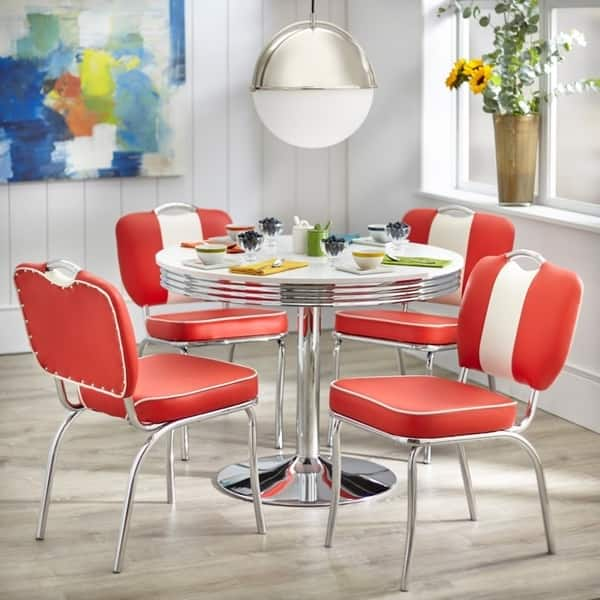 Simple Living Raleigh Retro Dining Table White Overstock 23154222