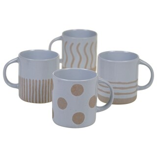 Certified International Artisan 22-ounce Graphic Mugs (Set of 4)
