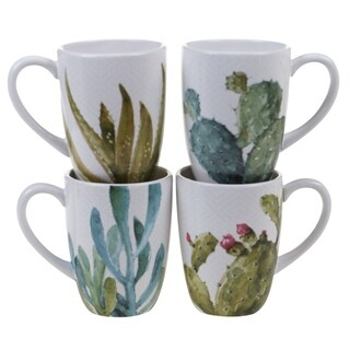 Certified International Cactus Verde 22-ounce Mugs (Set of 4)