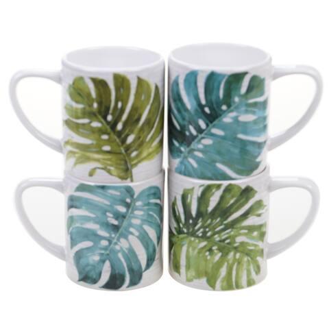 Certified International Palm Leaves 16-ounce Mugs (Set of 4)