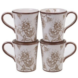 Certified International Toile Rooster 16-ounce Mugs (Set of 4)