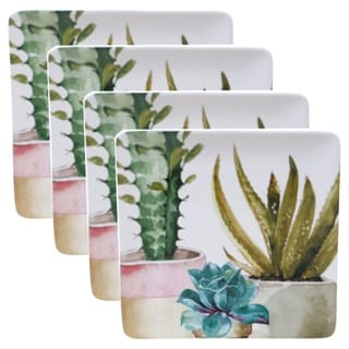 Certified International Cactus Verde 10.5-inch Square Dinner Plates (Set of 4)