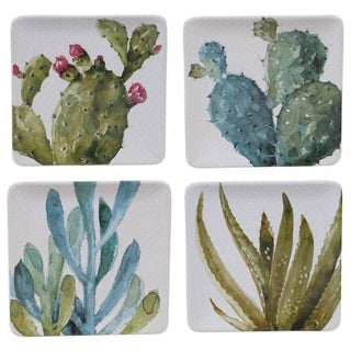 Certified International Cactus Verde 8.5-inch Square Salad/Dessert Plates (Set of 4)