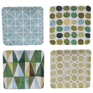 Certified International Mixed Green Patterns 4-inch Canape Plates (Set of 4)