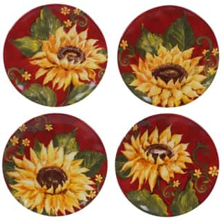 Certified International Sunset Sunflower 6-inch Canape Plates (Set of 4)
