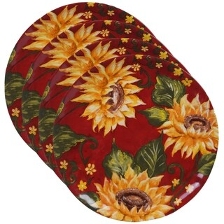 Certified International Sunset Sunflower 10.75-inch Round Dinner Plates (Set of 4)