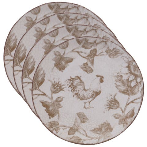 Certified International Toile Rooster 8.5-inch Salad/Dessert Plates (Set of 4)