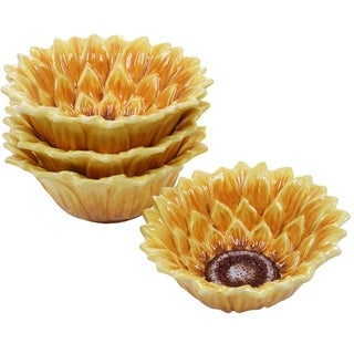 Certified International Sunset Sunflower 6.5-inch 3-D Ice Cream Bowls (Set of 4)