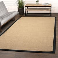 Superior Designer Hand Woven Natural Fiber Jute Black Area Rug - 6' x 9'
