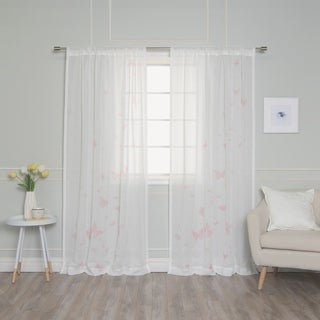 """Aurora Home Floating Butterfly Curtain Panel Pair - 52""""W x 84""""L"""