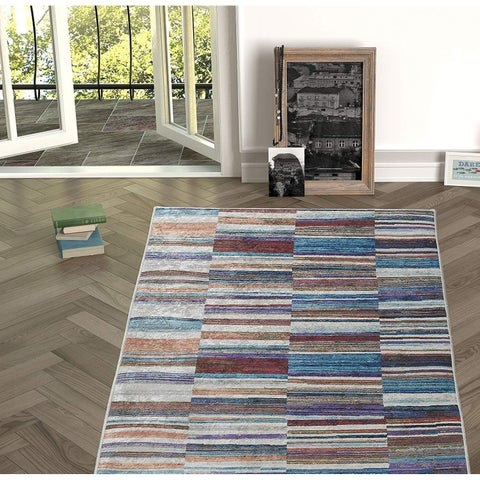 Chiara Rose Decorative Modern Area Rug, Non-skid Rubber Backing for Living & Dining Rooms, Bedroom & Kitchen, Bathroom & Entry