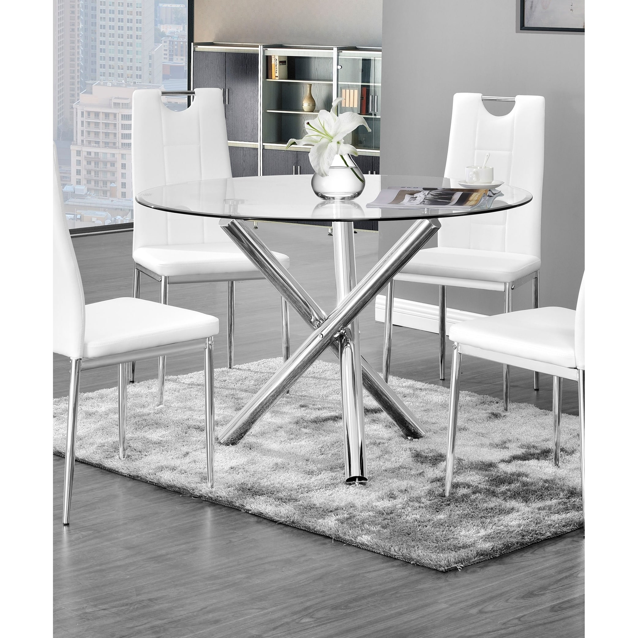 Chrome Gl Round Dining Table