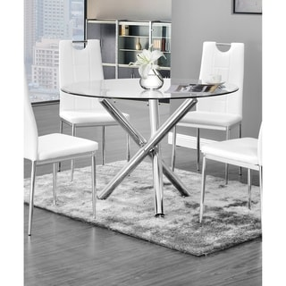 Link to Best Master Furniture Chrome Glass Round Dining Table Similar Items in Dining Room & Bar Furniture