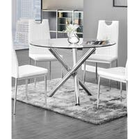 Best Master Furniture Chrome Glass Round Dining Table