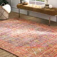"nuLOOM Orange Handmade Traditional Boho Maya Medallion Distressed Border Tassel Area Rug - 7' 6"" x 9' 6"""
