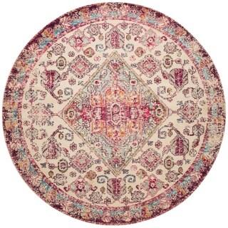 Vintage Bohemian Pink/ Multi Medallion Distressed Round Rug - 6'7 x 6'7