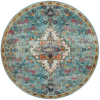 Vintage Bohemian Blue/ Multi Floral Medallion Distressed Round Rug - 8' x 8' Round
