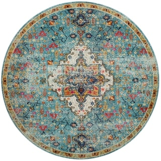 "Vintage Bohemian Blue/ Multi Floral Medallion Distressed Round Rug - 6'7"" x 6'7"" Round"