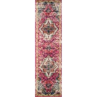 "Vintage Bohemian Pink/ Multi Floral Medallion Distressed Runner Rug - 2'2"" x 6' Runner"