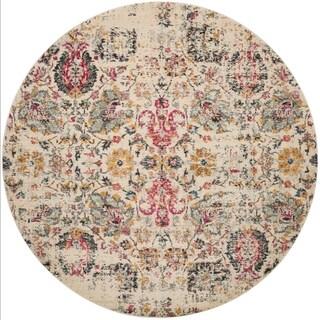 "Vintage Bohemian Ivory/ Multi Pink Floral Distressed Round Rug - 6'7"" x 6'7"" Round"