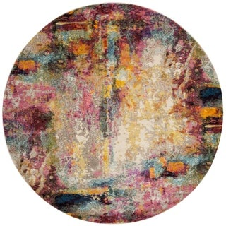 Vintage Bohemian Pink/ Multi Abstract Distressed Round Rug - 6'7 x 6'7