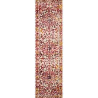 "Vintage Bohemian Pink/ Ivory Multi Medallion Distressed Runner Rug - 2'2"" x 6' Runner"
