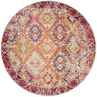 "Vintage Bohemian Pink/ Multi Geometric Distressed Round Rug - 6'7"" x 6'7"""