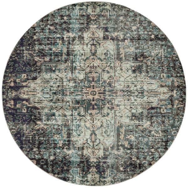 "Vintage Bohemian Grey/ Blue Medallion Distressed Round Rug - 6'7"" x 6'7"" Round"
