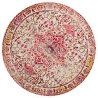 Vintage Bohemian Pink/ Ivory Multi Medallion Distressed Round Rug - 5' x 5'