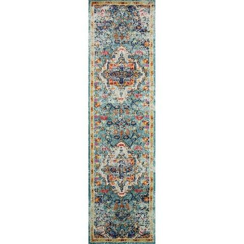 Vintage Bohemian Blue/ Multi Floral Medallion Distressed Runner Rug - 2'2 x 6'