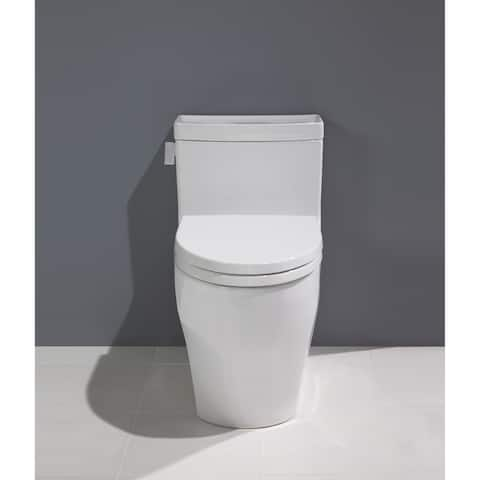 Toto Legato WASHLET+ 1-Piece Elongated 1.28 GPF Universal Height Skirted Toilet with CEFIONTECT, Cotton White (MS624124CEFG#01)