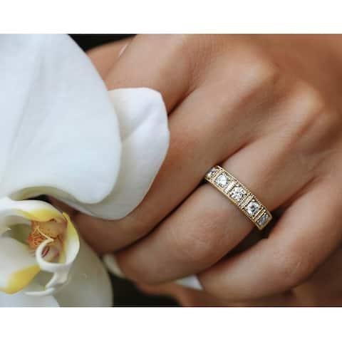 Annello by Kobelli 14k Solid Gold 7/8 Carat TDW Milgrain Framed Five Stone Diamond Wedding Ring (5mm)