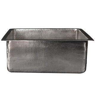 Premier Copper Products 20-inch Rectangle Copper Kitchen/Bar/Prep Single Basin Sink in Nickel