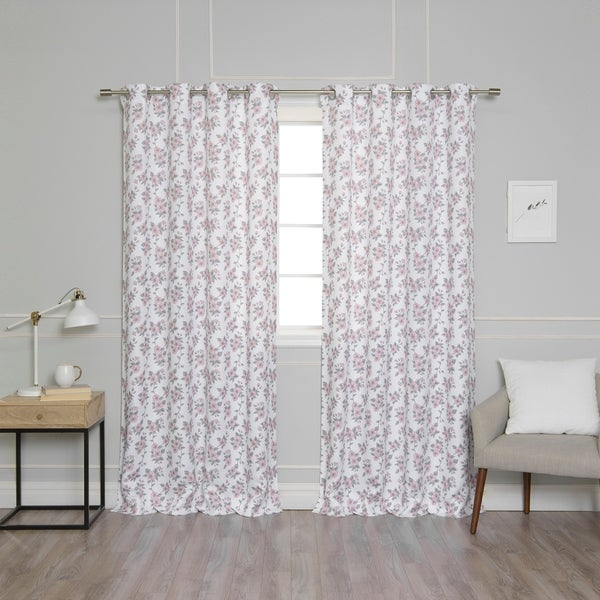 Aurora Home Pink Blossom Fl Privacy Curtain Panel Pair