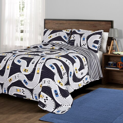 Lush Decor Car Tracks Quilt Set