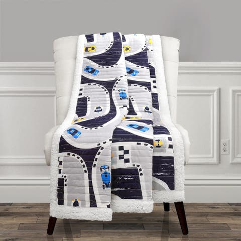 "Lush Decor Car Tracks Sherpa Throw - 60"" x 50"""
