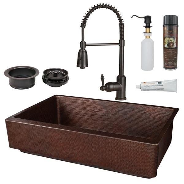 Premier Copper Products - KSP4_KASDB35227 Retrofit Kitchen Sink, Faucet and Accessories Package