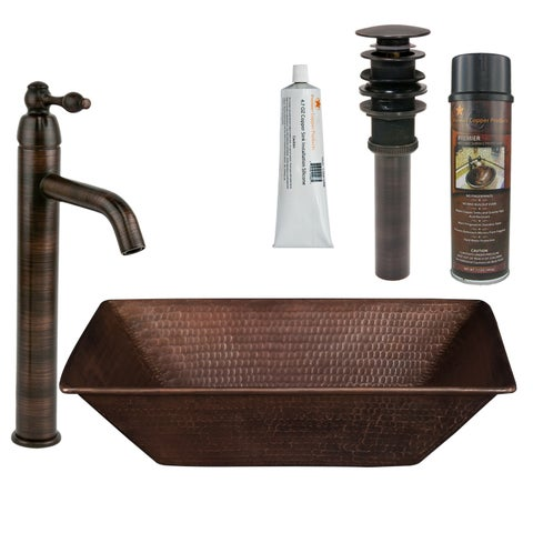 Premier Copper Products - BSP1_VREC17WDB Vessel Sink, Faucet and Accessories Package