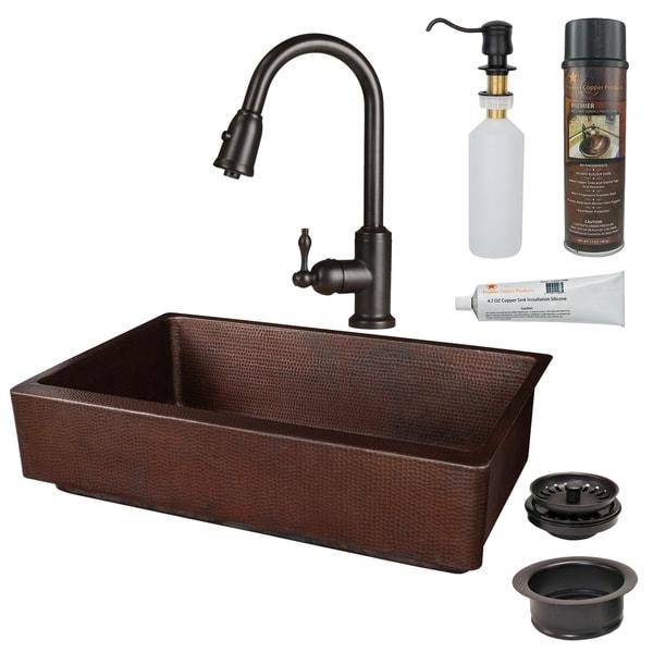Premier Copper Products - KSP2_KASDB35227 Retrofit Kitchen Sink, Faucet and Accessories Package. Opens flyout.